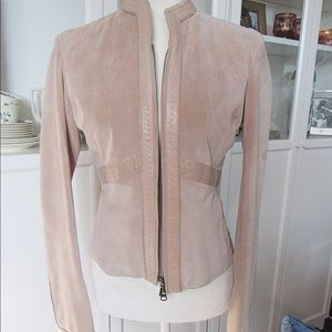 June Pink Suede leather trim Motto jacket NWT